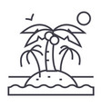 island with palms line icon sign vector image
