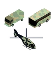 Isometric icons set of military vehicles vector image