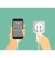 Mobile phone charging process vector image
