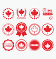 red canada flag emblems and design element set vector image