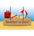 set summer icon over sand with a beautiful sunny vector image