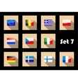 Flat flags icons of european countries vector image vector image