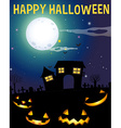 Halloween theme with haunted house and faces vector image vector image