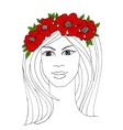 Girl with a wreath of red flowers vector image