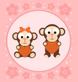 background with funny monkeys cartoon vector image