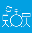 drum kit icon white vector image