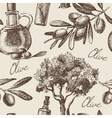 Hand drawn vintage olive seamless pattern vector image
