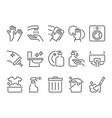 simple set of cleaning related flat line icons vector image