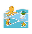 aquatic animals in the sea icon vector image