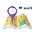 flat violet marker symbol on yellow city vector image