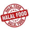 halal food red grunge round vintage rubber stamp vector image