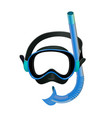 blue diving mask diving tube swimming equipment vector image