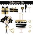 Celebration black and gold fashion birthday set vector image