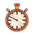 color drawing pencil cartoon stopwatch graphic vector image
