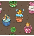 Cute cupcake pattern vector image