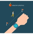 fitness app on tracker on the wrist vector image