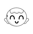 line cute baby boy head with hairstyle design vector image