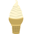Vanilla soft serve ice cream cone vector image