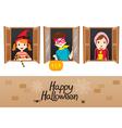 Children On Window Happy Halloween vector image
