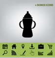 Baby bottle sign black icon at gray vector image