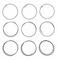 set of hand drawn scribble circles isolated on vector image
