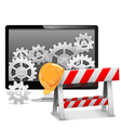 Computer Repair with Barrier vector image vector image