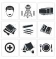 Illegal migration Icons Set vector image vector image