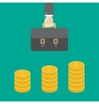 Gold coin stacks icon in shape of diagram Dollar vector image