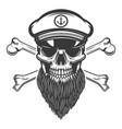 bearded sea captain skull with crossbones design vector image