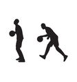 Black silhouette of basketball player with a ball vector image