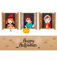 Children On Window Happy Halloween vector image