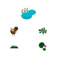 flat icon ecology set of pond berry lotus and vector image