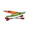 flat of two kayaks with oars on shore vector image