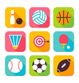 Flat Sport and Recreation Squared App Icons Set vector image