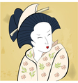 geisha on vintage background vector image