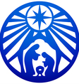 Holy family Christian silhouette icon blue white vector image