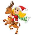 little girl ride deer on christmas vector image