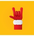 Santa Claus hand rock n roll icon vector image