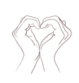 Hands making sign heart vector image vector image