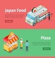 japan food and pizza mobile carts with street meal vector image
