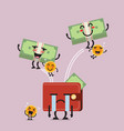 happy money jumping out of desperate wallet vector image vector image
