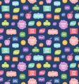 Colorful phrases repeat pattern on blue background vector image