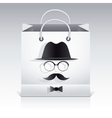 Shopping bag with man face image on it vector image