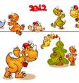 set dragons and christmas tree vector image vector image