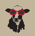 Cow wearing glasses vector image vector image