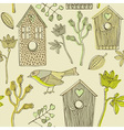 Retro Bird House Pattern vector image