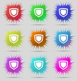 shield icon sign A set of nine original needle vector image