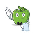 waiter green apple character cartoon vector image