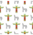 seamless pattern with tribal totem and wolf vector image