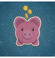 Retro Piggy Bank vector image vector image